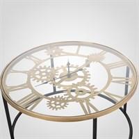 Интерьерный Золотистый Металлический Стол-Часы