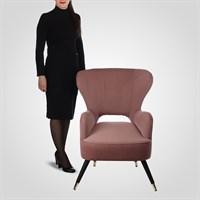 Дизайнерское Мягкое Кресло Цвета Розовой Пудры в Стиле Ар-деко