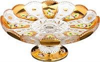 ТОРТОВНИЦА НА НОЖКЕ LEFARD GOLD GLASS ДИАМЕТР=27 СМ. ВЫСОТА=10 СМ. (КОР=6ШТ.)